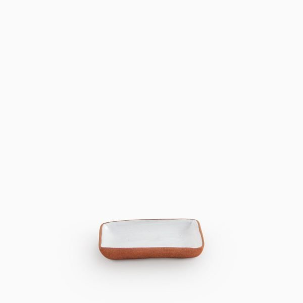 690300936 Square dish and saucer Natural White Velvet